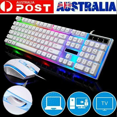 AU22.99 • Buy USB LED RGB Gaming Keyboard And Mouse Backlit Wired Compact 104 Keys Keyboard