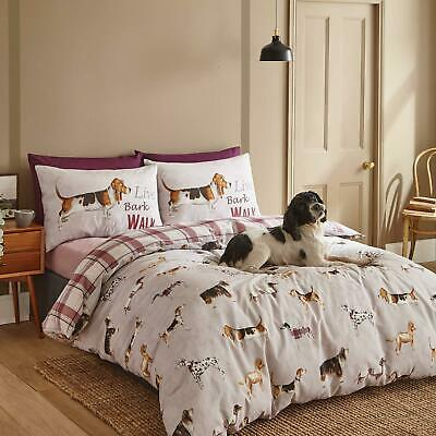 £17.95 • Buy Catherine Lansfield Country Dogs Natural Duvet Covers Easy Care Bedding Sets
