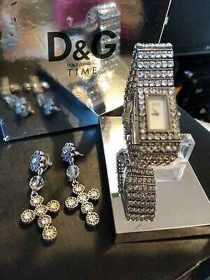 £49 • Buy D&G Womens White Diamanté Watch With D&G Earings With Box And Booklet