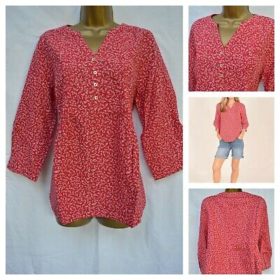 £15.99 • Buy Ex Brakeburn £38 Forget Me Not Blouse Top Tunic Shirt Red Floral Size 12 - 20