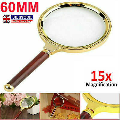 £3.29 • Buy Magnifying Glass 15x Magnifier Handheld Loupe 60mm Large Reading Jewellery Aid