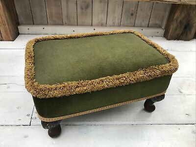 £23.50 • Buy Retro Olive Green Foot Stool/Seat Queen Anne Style Legs