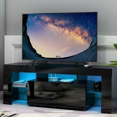 £120.49 • Buy TV Stand Cabinet LED Light Media Console High Gloss Table Storage Display Rack