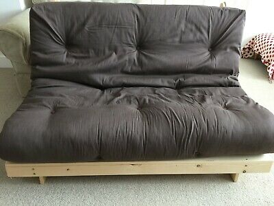 £30 • Buy Double Sofa Bed Futon, Pine Frame, Brown Comfy Mattress. Buyer Collects