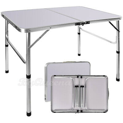 £28.12 • Buy Folding Picnic Camping Table 3 FT Aluminum Portable BBQ Outdoor Adjustable Desk