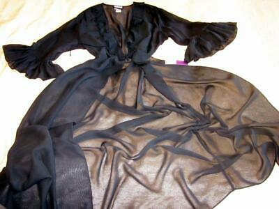 £44 • Buy Long Sheer Robe Black Frilly Chiffon One Size Negligee Dressing Gown Lingerie
