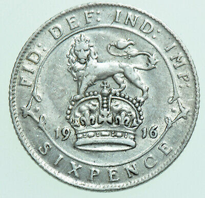 £5.50 • Buy 1916 George V Sixpence, British Silver Coin Gvf