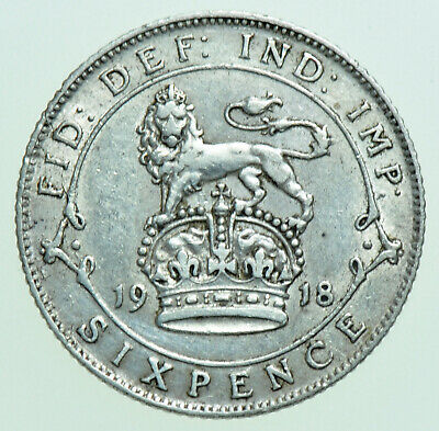 £5.50 • Buy 1918 George V Sixpence, British Silver Coin Gvf+