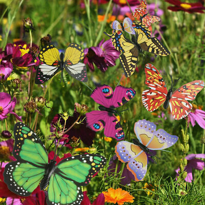 £11.99 • Buy 50Pcs Colorful Garden Butterfly/Butterflies Stakes Patio Ornaments Lawn