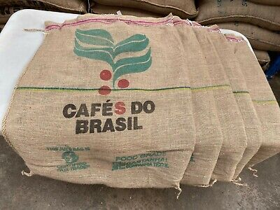 £14.95 • Buy Free Delivery 5 Cafes Do Brasil Used Colourful Coffee Sacks Carefully Opened