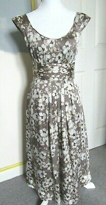 £29.99 • Buy Monsoon Dress   Size 10   Floral Beige   Midi Fit And Flare Occasion Wedding
