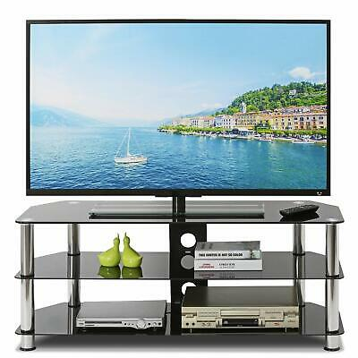 £59.39 • Buy TV Stand Glass Table Cabinet Televisions With 4 Storage Shelves LED Light Black