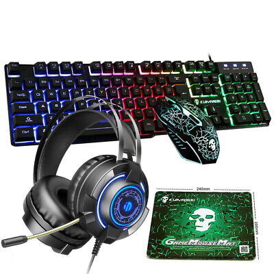 AU62.89 • Buy AU Rainbow Backlit Gaming Keyboard Mouse Headset And Mat Set For PS4 Xbox One PC