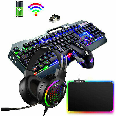 AU98.89 • Buy 4in1 Wireless Rainbow Backlit Gaming Keyboard Mouse Headset And RGB Mice Pad Set