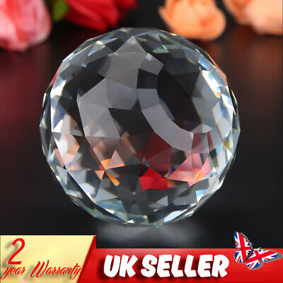 £10.55 • Buy UK K9  Sphere 80mm Faceted Gazing Glass Ball Clear Prisms For Home Hotel