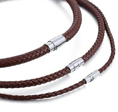 £4.89 • Buy 4mm-8mm Mens Braided Cord Brown Leather Stainless Steel Necklace 16 -50'' J32 UK