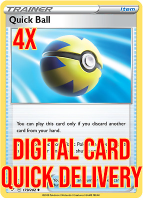 $0.99 • Buy 4X Quick Ball 179/202 DIGITAL CARD Pokemon Online USA SELLER FAST DELIVERY