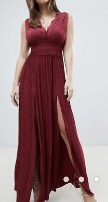 £19.99 • Buy ASOS DESIGN Premium Lace Insert Pleated Maxi Dress In Oxblood Size 6 /XS RRP £60