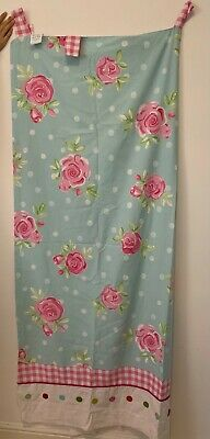 £10 • Buy Next Childs Pink Green Gingham Floral Curtains 135x183cm