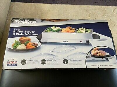 £29.99 • Buy Tower 3 Tray Buffet Food Warmer / Server - Stainless Steel Brand New