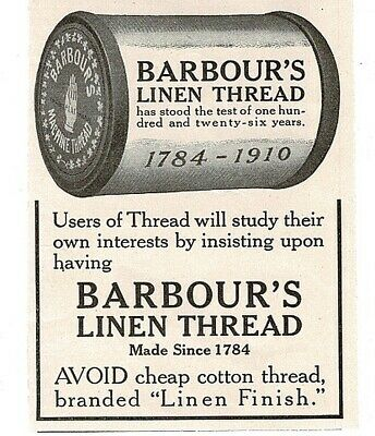 £7.24 • Buy 1910 BARBOUR'S Linen Thread Sewing Vintage Print Ad