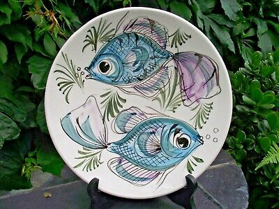£12.50 • Buy Vintage Rustic Maltese Art Pottery Decorative Plate Hand Painted Pisces Fish