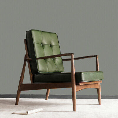 £549.99 • Buy Leather Armchair Solid Wood Vintage Retro Quirky Contemporary Chair Design