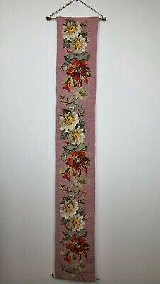 £35.99 • Buy Vintage Floral Embroidered Needlepoint Tapestry Gallery Wall Hanging Bell Pull