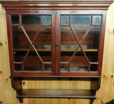 £149 • Buy Antique Mahogany Cabinet Wall Hanging  Astragal Glazed Glass Small Kitchen