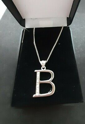 £2.50 • Buy Beautiful Silver Tone And Crystal Initial Necklace Letter B