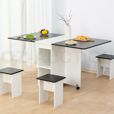 AU219.95 • Buy Dining Table And Chair 5 Piece Multifunctional Foldable Furniture White & Black