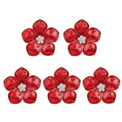 £2.79 • Buy 5PCS Red Flower Badges Pin Brooch Crystal Dripping Oil Branch Badge