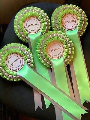 £2.50 • Buy Dog Show Rosettes Specials 3 Tier Lime Green & Silver Award £2.50 Each