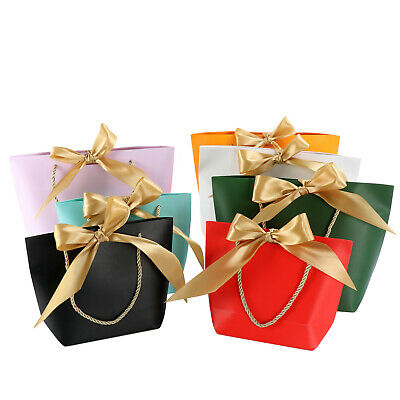 £1.99 • Buy Paper Party Bags With Handle Ribbon Tie Recyclable Baby Wedding Favors Gift Bags
