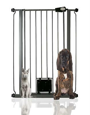 £33 • Buy Bettacare Deluxe Extra Tall Dog  With Cat Flap Pet Gate 75-84cm Grey RETURN
