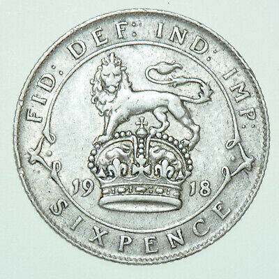 £5.50 • Buy 1918 George V Sixpence, British Silver Coin Vf