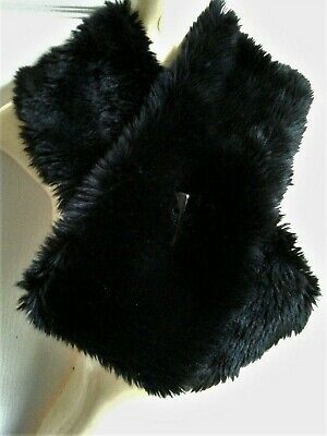 £3.99 • Buy EASTEX Black Soft Faux Fur Scarf Collar Stole, Toggle Fastening