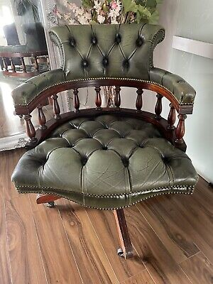 £265 • Buy Antique Green Leather Chesterfield Captins Chair FREE UK DELIVERY