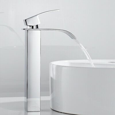 £33.59 • Buy Tall Waterfall Bathroom Basin Mixer Tap Counter Top Chrome Small Square Faucets~