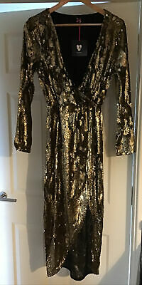 £30 • Buy V By Very Gold Sequin Dress, Size 12, Brand New With Tags