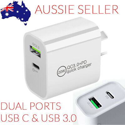 AU12.50 • Buy USB-C Type C Fast Wall Charger 18W AU Plug Adapter For Android IPhone 12 11