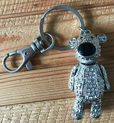 £1.25 • Buy Metal Sparkly Gem Silver Bear Keyring With Movable Parts