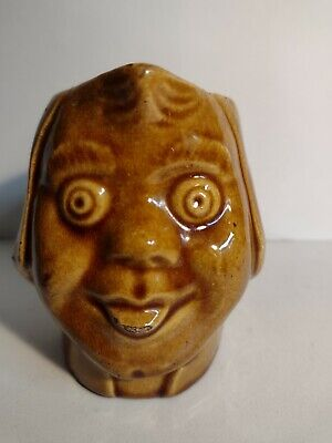 £8 • Buy Antique Treacle Glaze Grotesque Small Face Jug Incised 1174