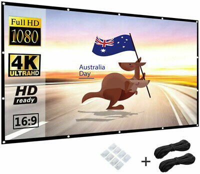 AU18.19 • Buy 4K 120'' Foldable Projector Screen Portable Outdoor Home Cinema Matte White 16:9