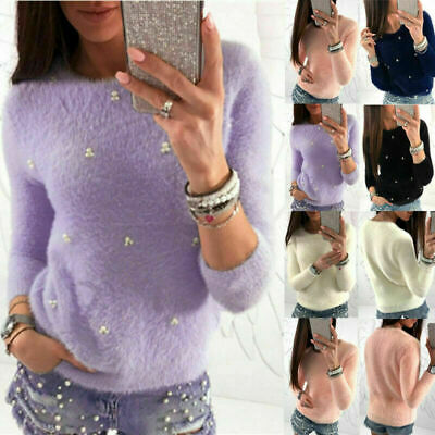 £9.89 • Buy Women Casual Plain Blouse Tops Ladies Pullover Long Sleeve Fluffy Jumper Sweater