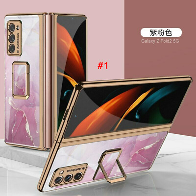 AU34.99 • Buy Plating Glass Painted Square Bracket Cover Case For Samsung Galaxy Z Fold 2 5G