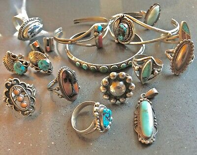 £163.31 • Buy LOT Native American Navajo Zuni Sterling Turquoise Necklace Ring Earrings Mexico
