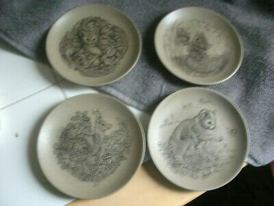 £12 • Buy Poole Pottery Four Barbara Linley Adams Stoneware Plates Mouse ,cat , Deer ,fox
