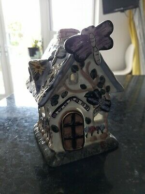 £3 • Buy Ceramic Fairy House Butterflies Flowers Decorated Tealight Votive Candle Holder