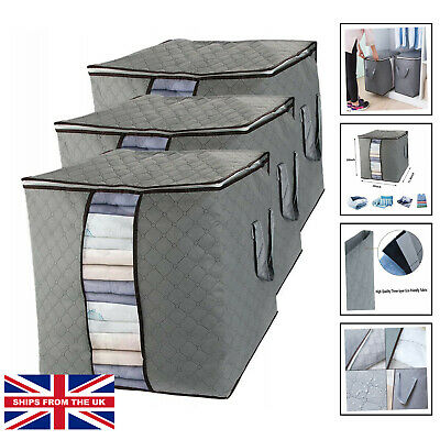 £18.25 • Buy 3 Pack Underbed Storage Bags With Zips, Large Under Bed Organiser Containers ...